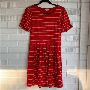 Anthropologie Red Striped Cotton Dress